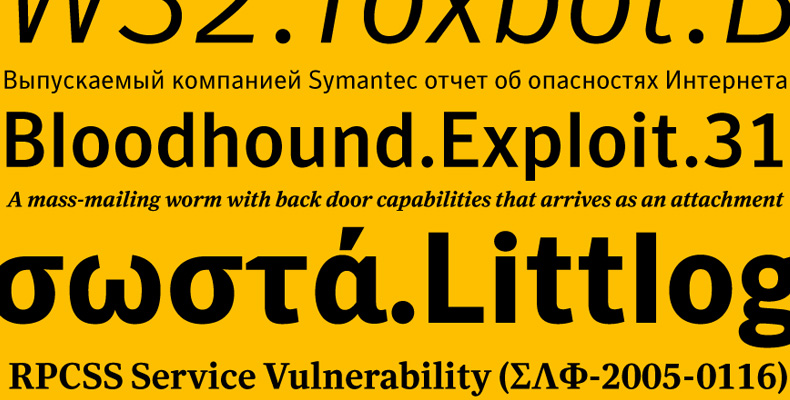 Symantec typefaces